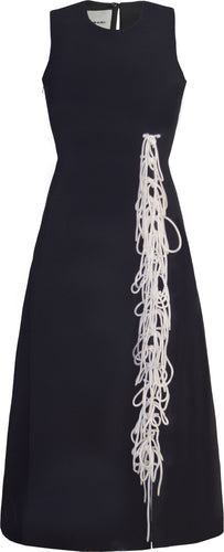 Black Dress with White Tassels