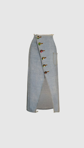 Irridescene Denim Skirt