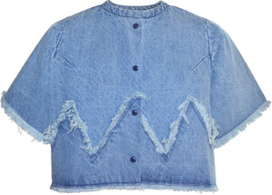 Zig-zag denim crop top