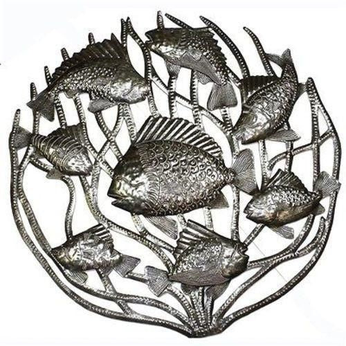 Fish In Coral Metal Wall Art 24-Inch Diameter - Croix Des Bouquets