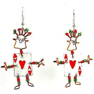 Dancing Girl Card Player Earrings - Creative Alternatives The Takataka Collection
