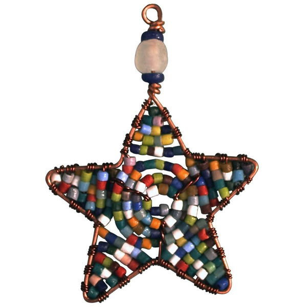 Beaded Star Ornament Rainbow - Global Mamas (H) Holiday