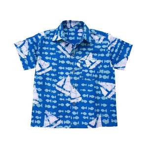 Boys Button Down Shirt Sailing Blue - Global Mamas (C) Apparel