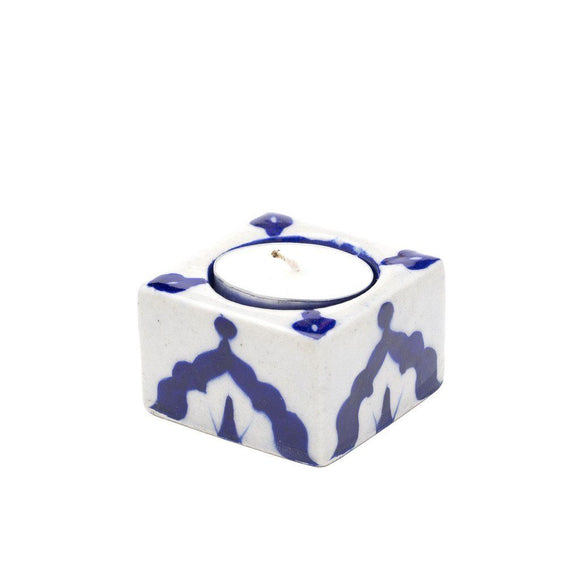 Blue Pottery Tea Light Holder - Indigo - Matr Boomie (Candle) Candles