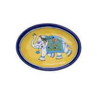 Blue Pottery Elephant Soap Dish - Yellow - Matr Boomie (Pottery)