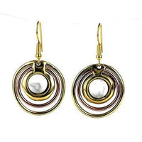 Concentric Howlite Brass And Copper Earrings - Images (E)