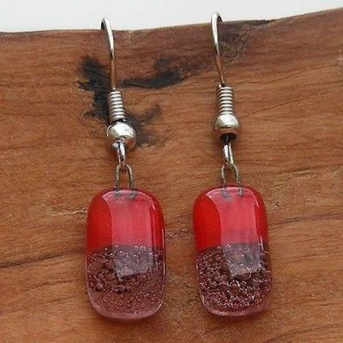 Red Bubbles Small Glass Earrings - Tili