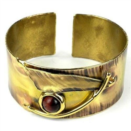 Blade & Red Tiger Eye Brass Cuff - Images (C)