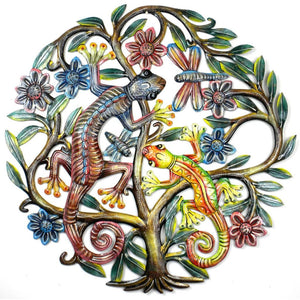 24 Inch Painted Gecko Tree Of Life - Croix Des Bouquets Metal Wall Art