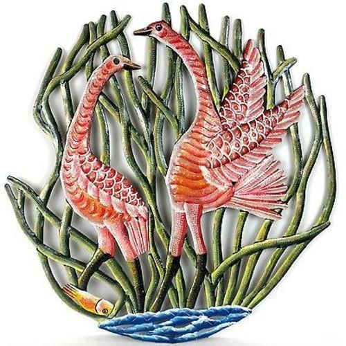 24-Inch Painted Two Cranes In Reeds Metal Wall Art - Croix Des Bouquets