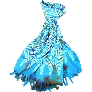 Handmade Sarong Turquoise - Designs Will Vary - Global Groove (W) Scarves