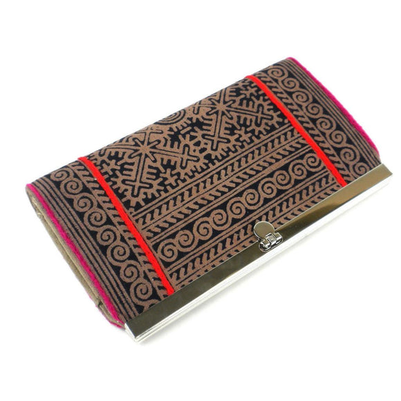 Hmong Batik Clutch - Earth - Global Groove (P) Purses And Pouches