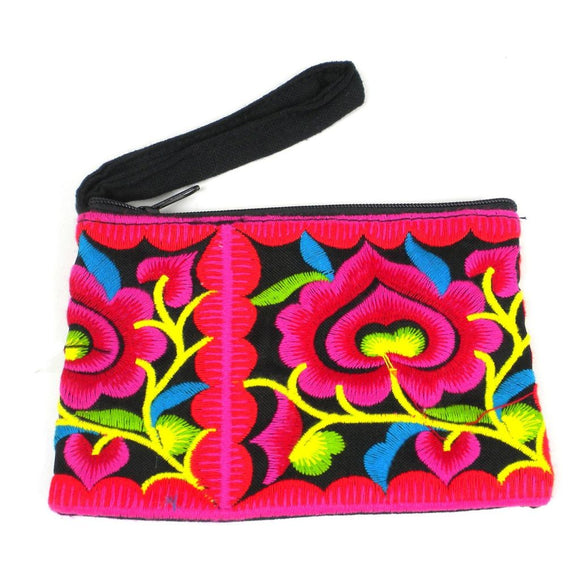 Hmong Embroidered Coin Purse - Black - Global Groove (P) Purses And Pouches