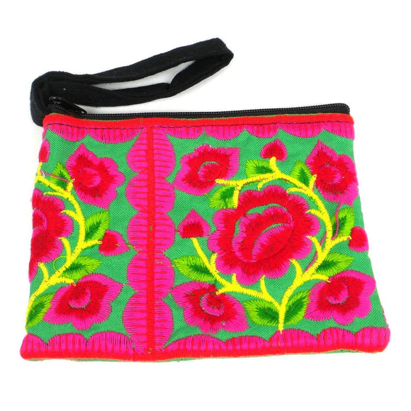 Hmong Embroidered Coin Purse - Green - Global Groove (P) Purses And Pouches
