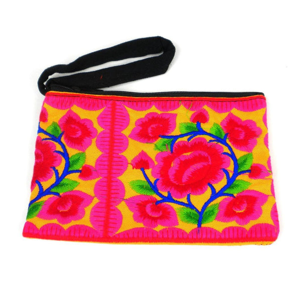 Hmong Embroidered Coin Purse - Sand - Global Groove (P) Purses And Pouches
