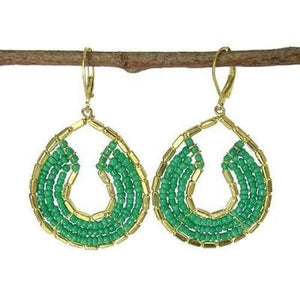 Byzantine Earrings In Teal And Gold - Worldfinds World Finds