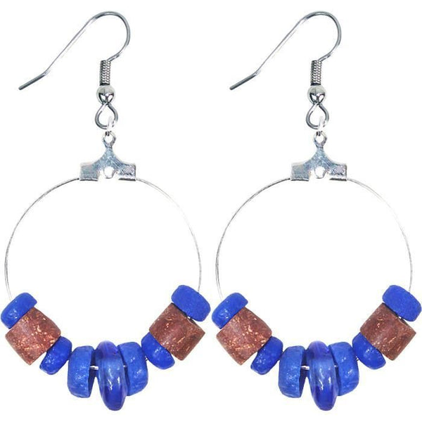 Down To Earth Earrings Blue - Global Mamas Ghanaian Collection