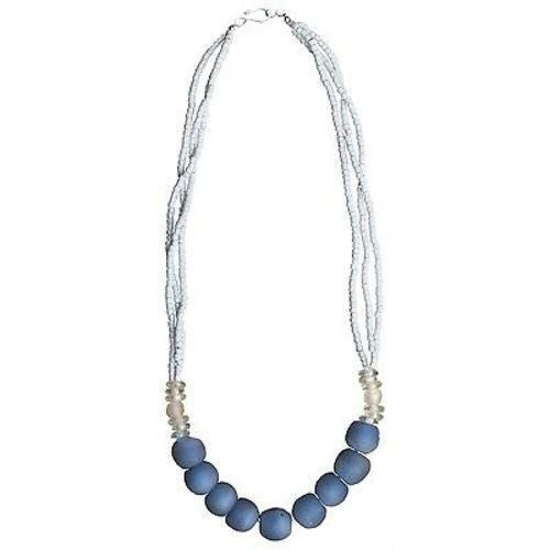 Recycled Blue Abacus Glass Bead Necklace - Global Mamas Ghanaian Collection