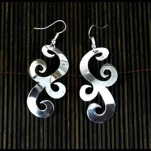 Large Silverplated Scrollwork Earrings - Artisana