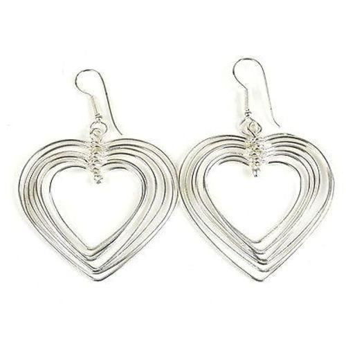 Large Silverplated Seven Hearts Earrings - Artisana