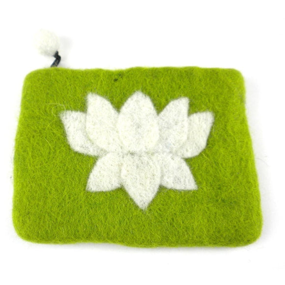 Lotus Flower Felt Coin Purse - Lime - Global Groove (P) Purses And Pouches