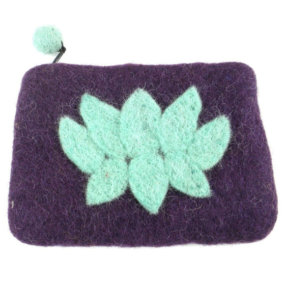 Lotus Flower Felt Coin Purse - Wine - Global Groove (P) Purses And Pouches