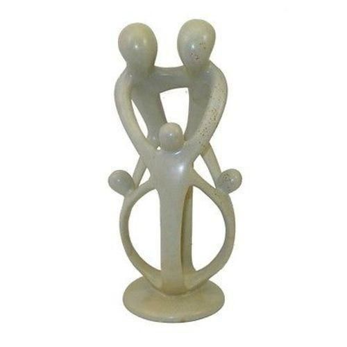 Natural Soapstone Family Sculpture - 2 Parents 3 Children - Smolart