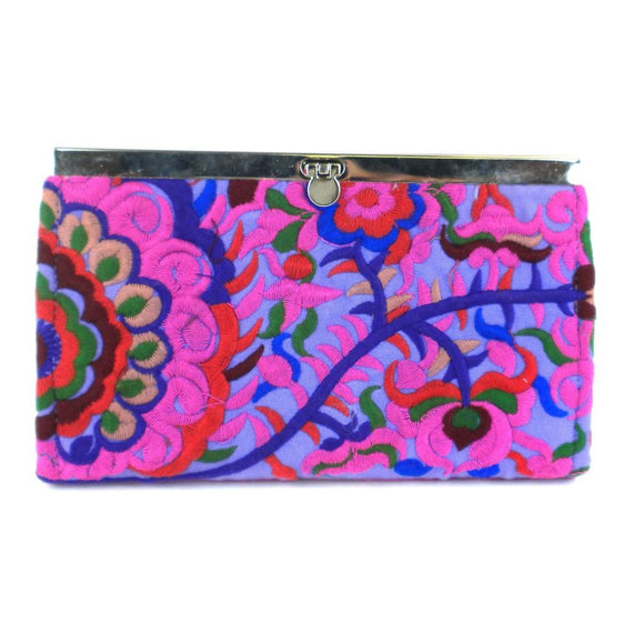 Purple Blossom Snap Clutch - Global Groove (P) Purses And Pouches