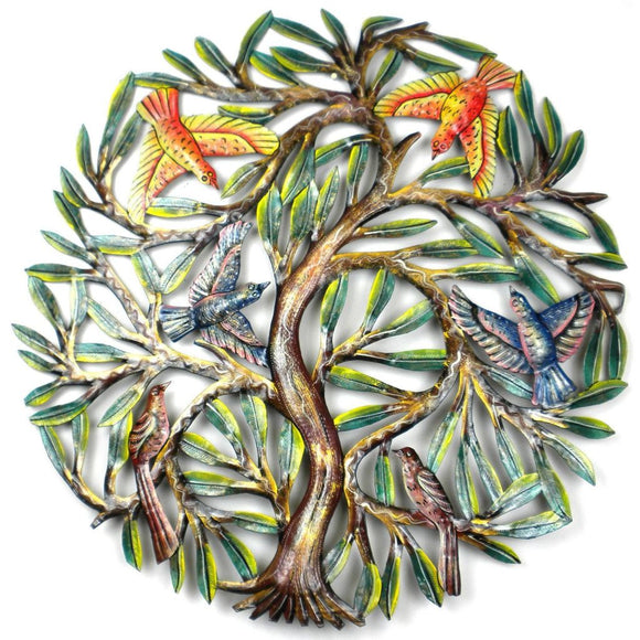 24 Inch Painted Tree With Birds - Croix Des Bouquets Metal Wall Art
