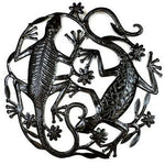 24 Inch Metal Art Two Geckos - Croix Des Bouquets Wall