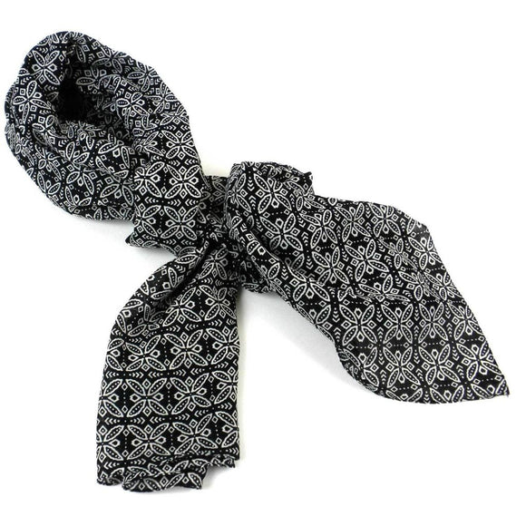 Black And White Floral Cotton Scarf - Asha Handicrafts Scarves