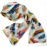 Cream Feather Polyester Scarf - Asha Handicrafts Scarves