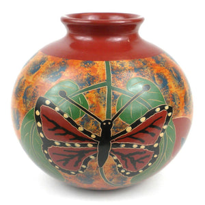 6 Inch Tall Vase - Butterfly - Esperanza En Accion Decorative Pottery