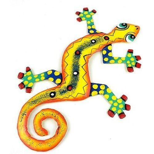 Eight Inch Dots And Yellow Metal Gecko - Caribbean Craft Wall Art