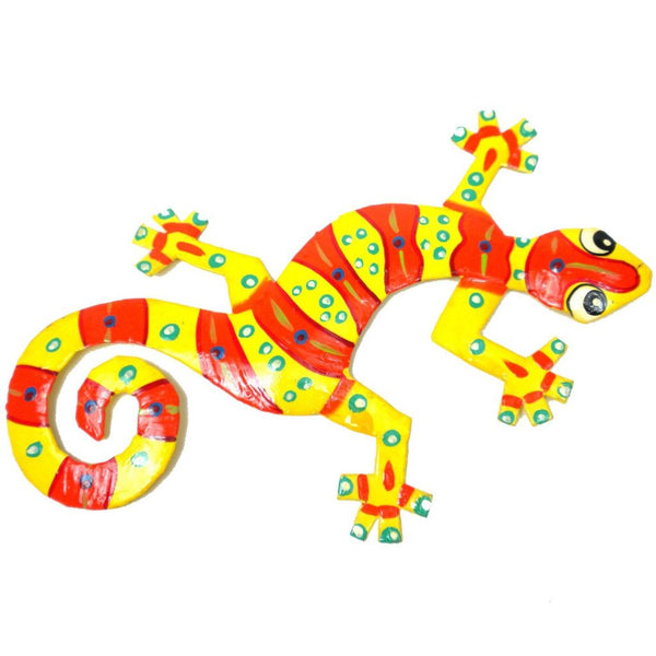 Eight Inch Clown Design Metal Gecko - Caribbean Craft Wall Art