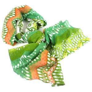 White Peach And Green Ikat Cotton Scarf - Asha Handicrafts Scarves