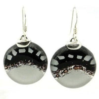 White To Black Fused Glass Earrings With Sterling Silver - Tili