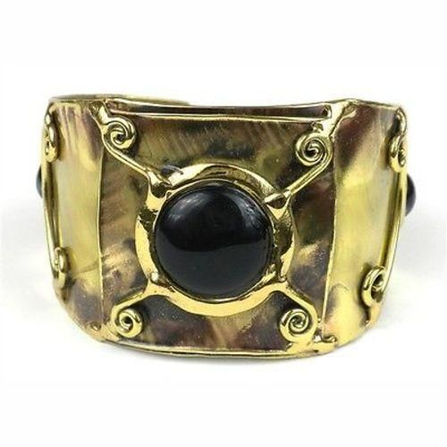 X Squared Onyx Cuff - Brass Images (C)