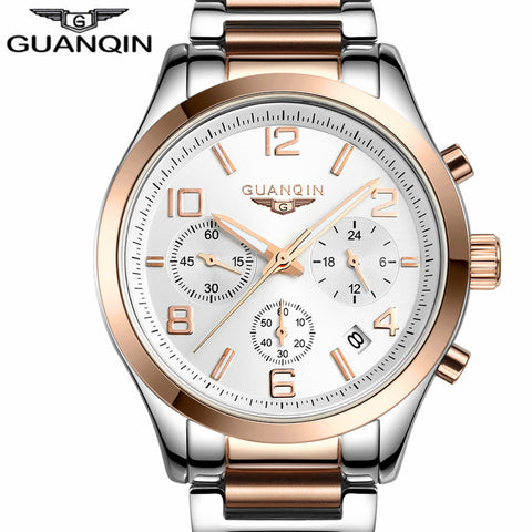 relogio masculino GUANQIN Watch Men Business Chronograph Date Luminous Wristwatch Mens Luxury Brand Stainless Steel Quartz Watch