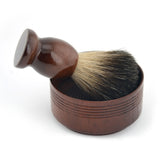 Barber wet shaving brush & classic wood soap mug
