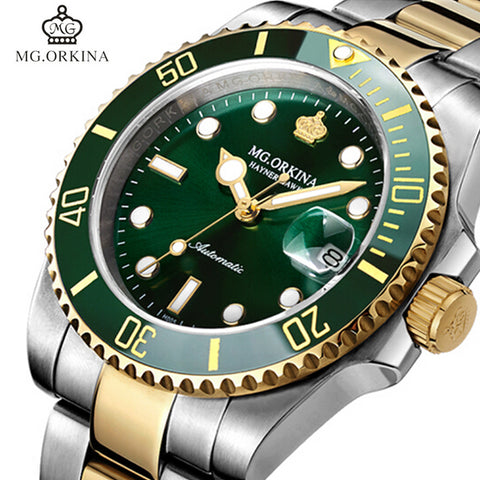 MG.ORKINA Green Stainless Steel 316L 40MM Case Auto Date Men's Mechanical Watches Diving Waterproof 30M Automatic Luminous Watch