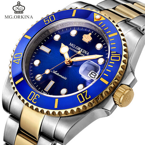 MG.ORKINA Men Stainless Steel 316l Automatic Mechanical Watches Blue 40MM Case Auto Date Diving Waterproof 30M Luminous Watch