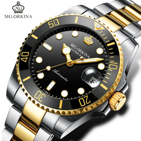 MG.ORKINA Stainless Steel 316L Auto Date Men's Mechanical Watches Diving Waterproof 30M Business 40MM Automatic Luminous Watch