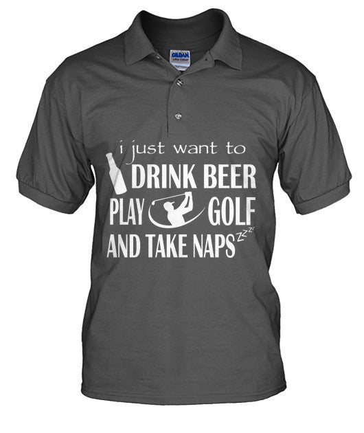 Drink Beer Play Golf Polo T Shirts-Apparel - AllGolfUSA.COM