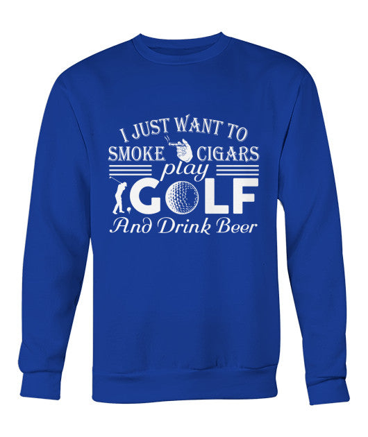 Smoke cigar drink beer play golf Shirt-Apparel - AllGolfUSA.COM