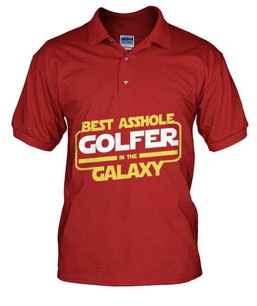 Best asshole golfer in Galaxy Men's Polo-Short Sleeves - AllGolfUSA.COM