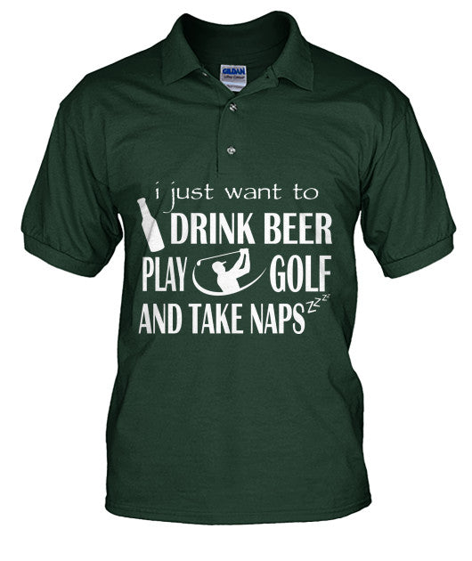 Drink Beer Play Golf Polo T Shirts