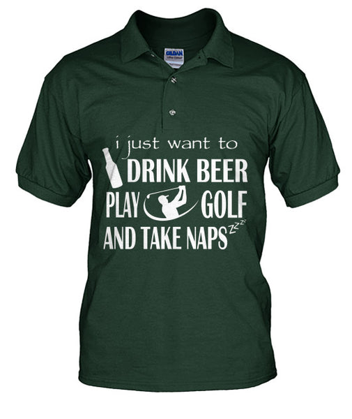 Drink Beer Play Golf Polo T Shirts-Apparel - TEEHOT.COM