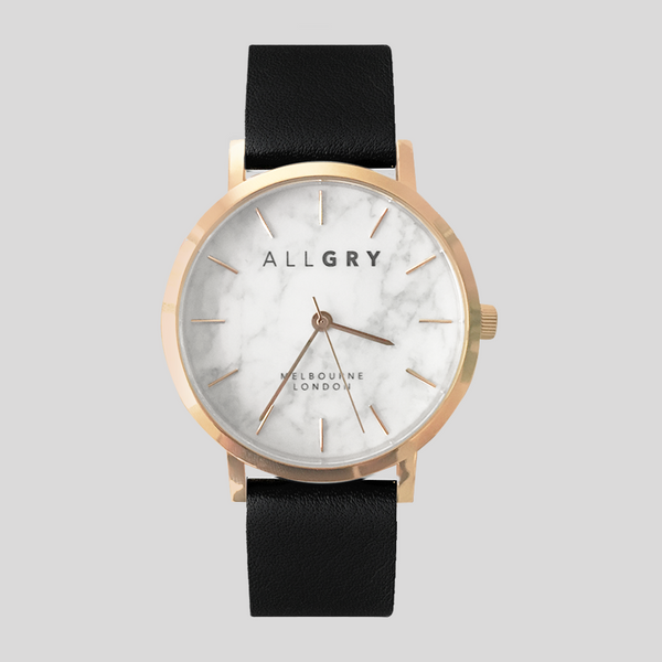 White Marble with Rose Gold Watch with Black Strap