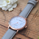 White Marble & Rose Gold Watch with Grey Leather Strap